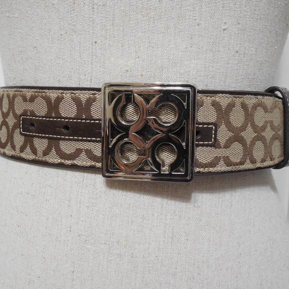 5bc16cbe13df Coach Accessories - Coach Silver And Brown Signature Logo Belt Large